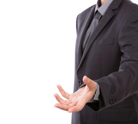 comunicacion no verbal: Mano abierta del hombre de negocios