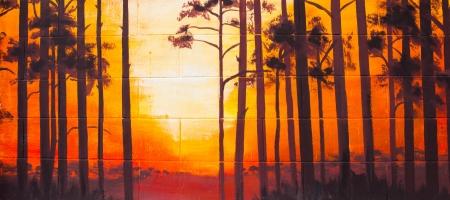 paisaje vintage: Vintage paisaje pintura al �leo sobre muro