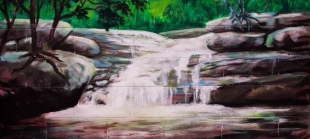 Vintage waterfall Oil Painting on wall photo