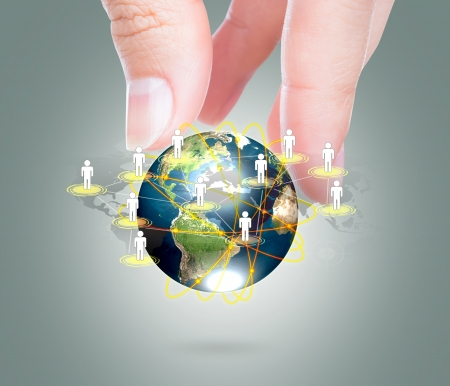 cross linked: Social Network concept : hand hold earth of social network   Stock Photo