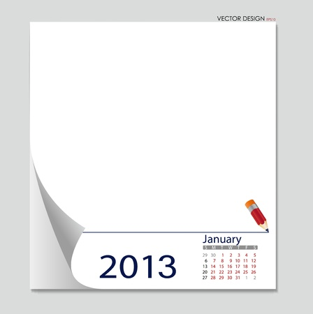 Simple 2012 calendar, January. All elements are layered separately in vector file. Easy editable. Vector