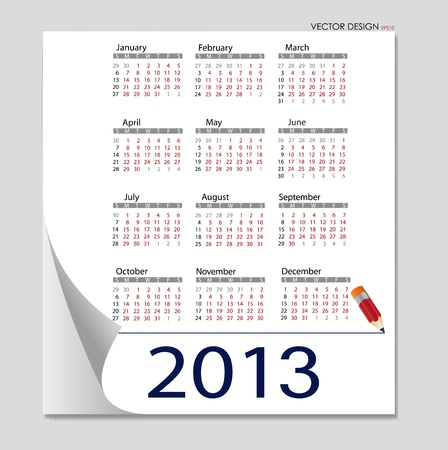 Simple 2013 calendar. All elements are layered separately in vector file. Easy editable. Vector