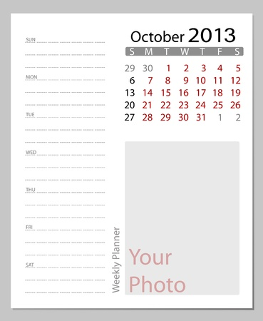 kalender oktober: Eenvoudige 2012 calendar, oktober. Alle elementen zijn afzonderlijk gelaagd in vector bestand. Gemakkelijk bewerkbaar.