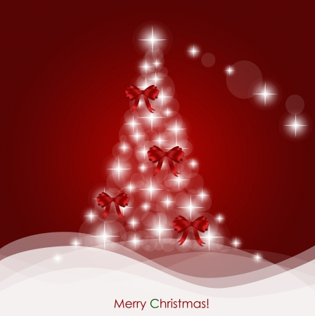 fir tree red: Christmas background with Christmas tree, vector illustration. Illustration