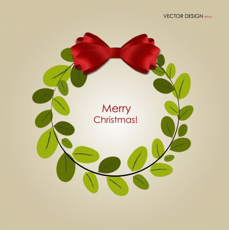 christmas wreath: Abstract Christmas background with Christmas wreath