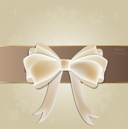 Greeting card with white bow  Vector illustration  Vector