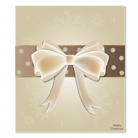 Greeting card with white bow. Vector illustration.