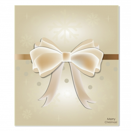 Greeting card with white bow. Vector illustration. Vector