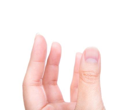Women hand holding something isolated on white background Stock Photo - 15965723