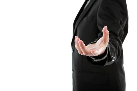 Mano abierta del hombre de negocios