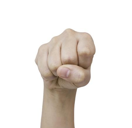 feindschaft: H�nde an die Spitze Show von Feindseligkeit, einen wei�en Hintergrund