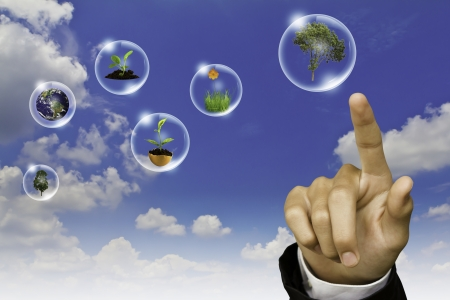 Eco concept : Business hand point tree, earth and flower in bubbles against the sun and the blue sky photo