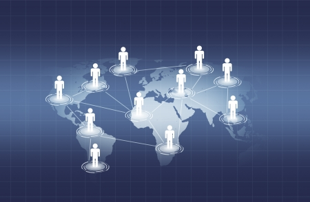 social network on world map photo