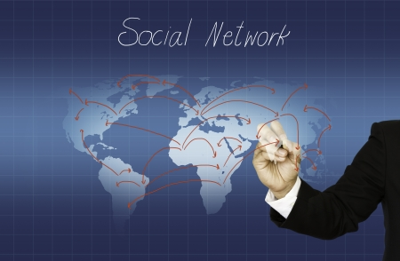 Hand drawing social network structure photo