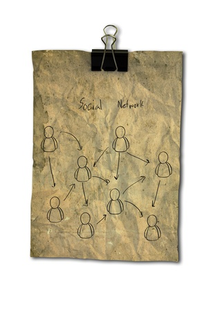 Drawing of social network on vintage paper photo