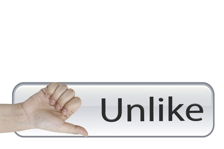 Unlike hand on Unlike button Stock Photo - 15967208