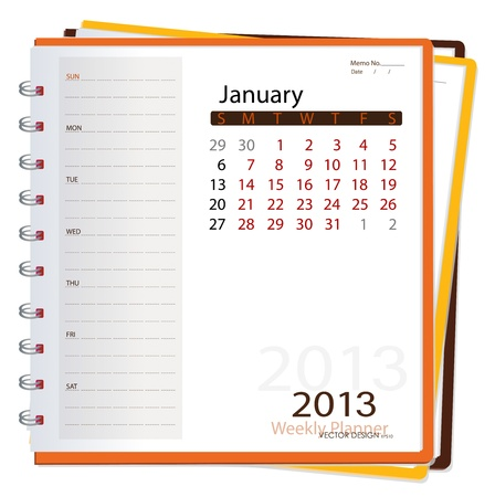 2013 calendar notebook, January. Vector illustration. Stock Vector - 16062197