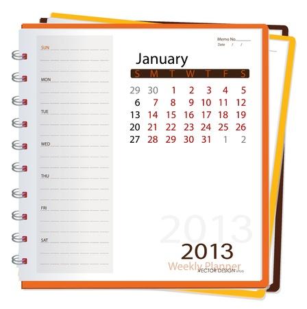 2013 notebook calendario, gennaio. Illustrazione vettoriale.