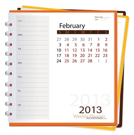 2013 calendar notebook, February. Vector illustration. Stock Vector - 16062195