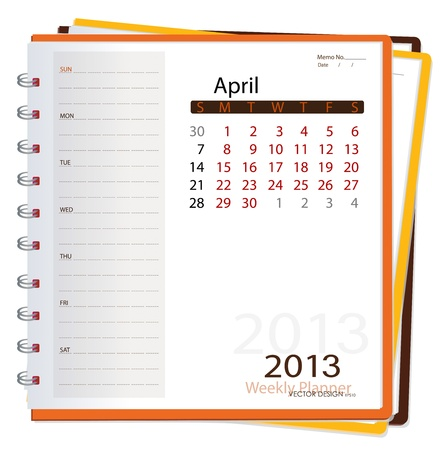 2013 calendar notebook, April. Vector illustration. Vector