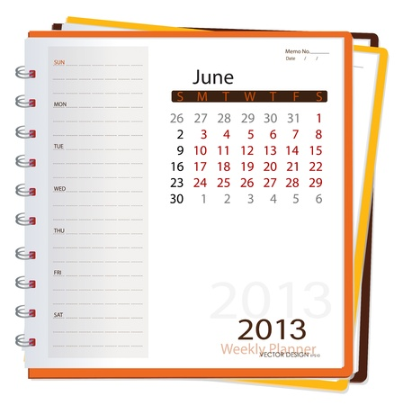 2013 calendar notebook, June  Vector illustration  Stock Vector - 16062198