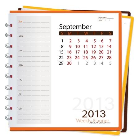 2013 calendar notebook, September  Vector illustration  Vector