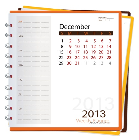 2013 calendar notebook, December  Vector illustration