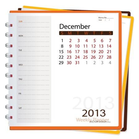 2013 calendar notebook, December  Vector illustration Stock Vector - 16062190