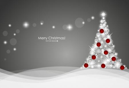 x mas card: Christmas background with Christmas tree, vector illustration  Illustration