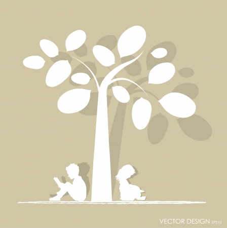 kids reading: Vector background with children read a book under tree  Vector Illustration