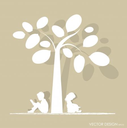 under the tree: Vector de fondo con los ni�os leen un libro bajo el �rbol Ilustraci�n vectorial