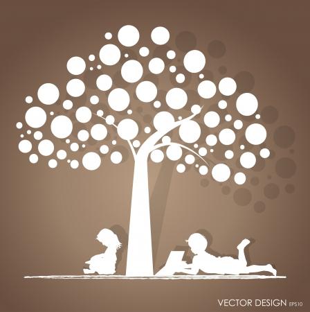 아이들과 함께 배경 나무 그림에서 책을 읽고