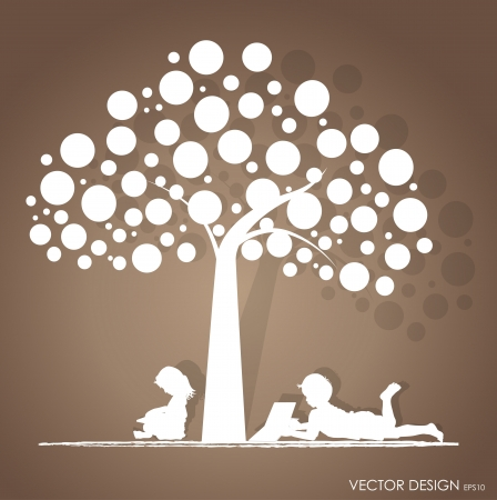 kids reading: background with children read a book under tree  Illustration