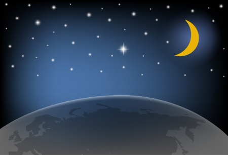 Night Sky with Moon, and shining Stars  illustration  Vector