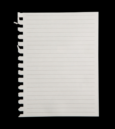 paper note: White paper  isolated on black background