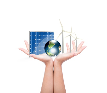 Woman hands hold Alternative Energy (solar cell, earth, wind turbine ) Elements of this image furnished by NASA photo