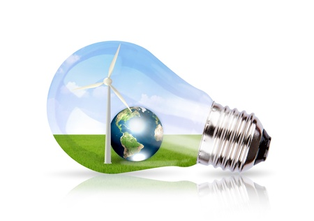 Light bulb with wind turbine and earth inside (Elements of this image furnished by NASA) Stock Photo