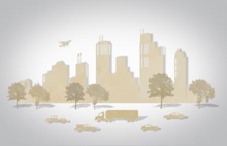 paper craft: Papel cortado de las ciudades con el �rbol, coche y avi�n