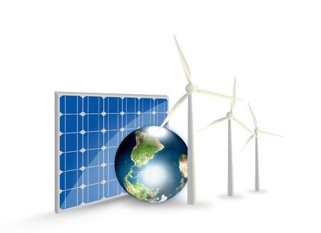 solar cell: Alternative Energy (solar cell, earth, wind turbine )  Stock Photo