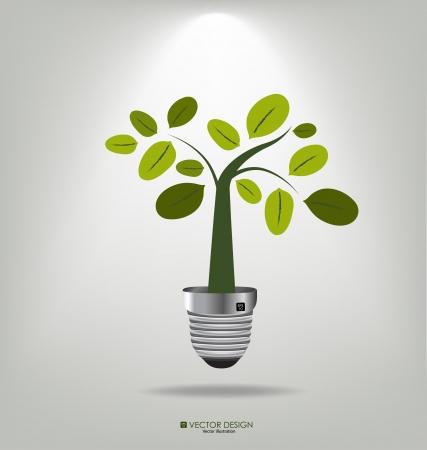 Concept d'Eco Une ampoule avec un arbre