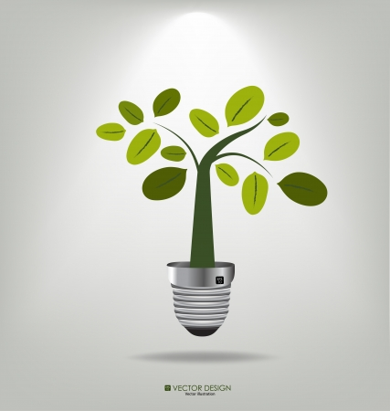 Eco concept  A light bulb with tree   Vector