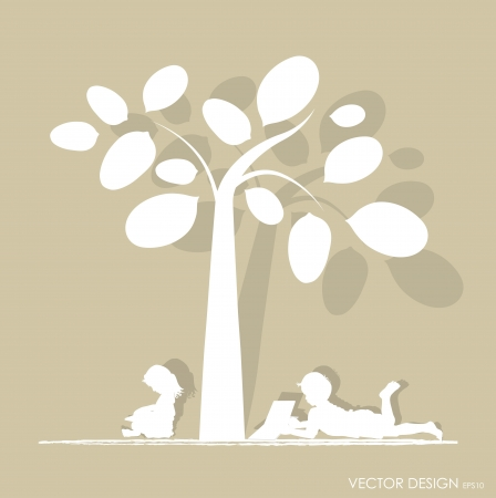 background with children read a book under tree Stock Vector - 16296971