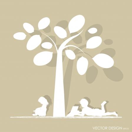 under the tree: fondo con los ni�os leen un libro bajo el �rbol