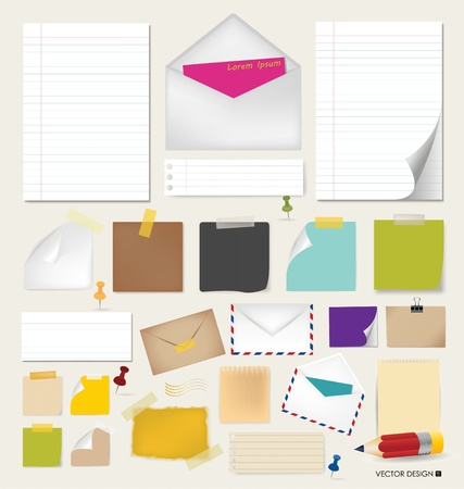 message vector: Collection of various papers, ready for your message  Vector illustration