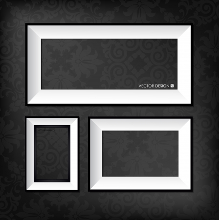 The modern frames on the dark wallpaper