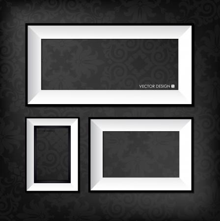 frame photo: The modern frames on the dark wallpaper