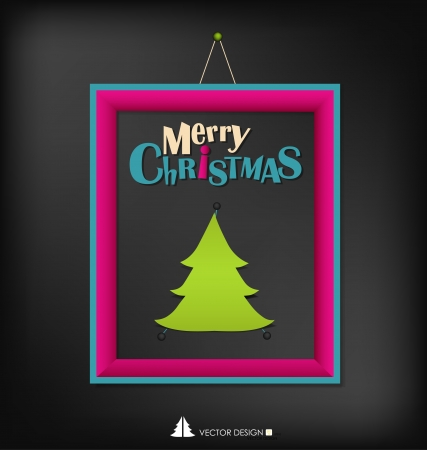 Merry Christmas with christmas tree paper design and modern frame Stock Vector - 16296933