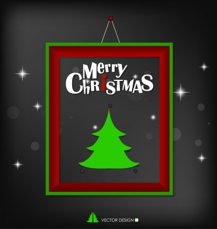 Merry Christmas with christmas tree paper design and modern frame Stock Vector - 16296934