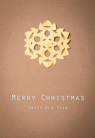 Vintage Christmas postcard with true paper snowflakes Stock Photo - 16526321