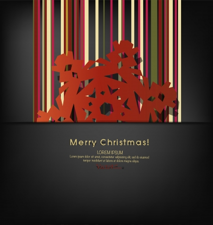 Vintage Christmas postcard with origami snowflake, vector illustration Stock Vector - 16603038
